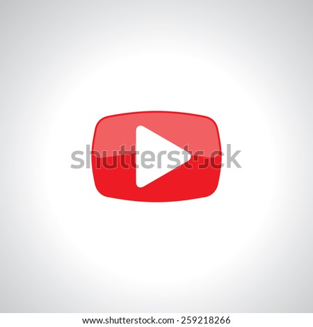 video play icon on red glossy