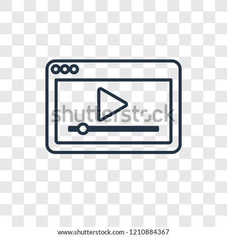 Video player concept vector linear icon isolated on transparent background, Video player concept transparency concept in outline style