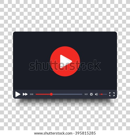 Video player design template with shadow for web and mobile apps. Vector illustration in flat style isolated on transparent background