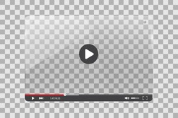Video player glass illustration on a checker background
