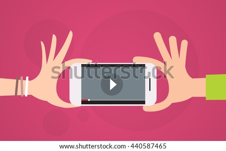Video Player Hand Hold Cell Smart Phone Flat Vector Illustration