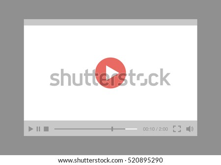 video player interface for web and mobile apps. Flat style. Vector illustration, EPS10.