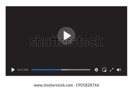 Video player interface isolated on white background. Video streaming template design for website and mobile apps. Vector illustration Photo stock ©