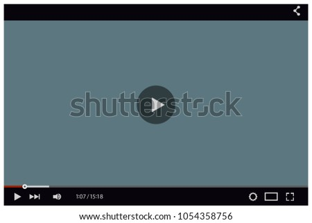 Video player mockup. Black flat template for web and mobile apps design. Vector illustration.