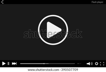 video player mockup black flat