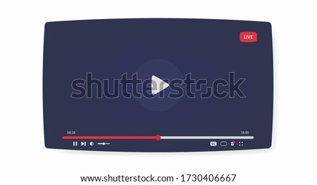 Video player mockup. Live stream window, player. Blogging. Streaming. Social media concept. Web design. Vector illustration
