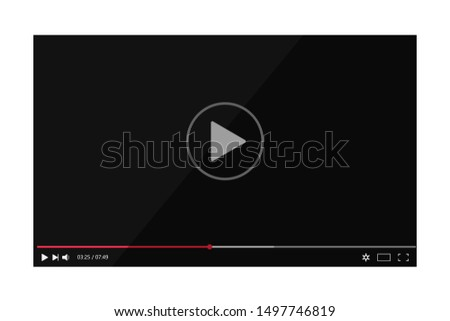 Video player screen with bar in mockup style. Multimedia interface with player bar for web. Flat player video frame with media screen on isolated background.vector eps10