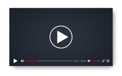 Video player template for web or mobile apps. Vector illustration.