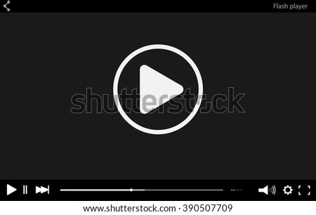 Video player vector mockup isolated. Black flat template for web design. Trendy Minimal Flash interface in social style. Modern illustration for website.