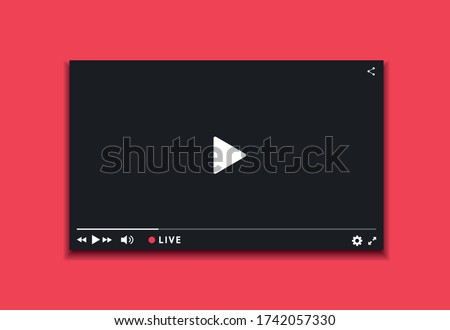 Video player window live streaming. Video player dark interface. Player design with button live stream.