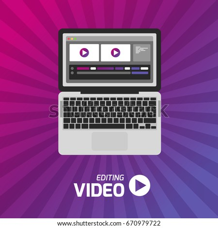 Video production computer software on laptop