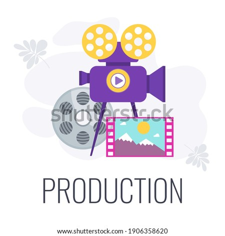 Video production icon. Video marketing. Camera, babin with a film strip. Digital marketing. Online video content. Internet promotion. Mobile adds. Flat vector illustration.