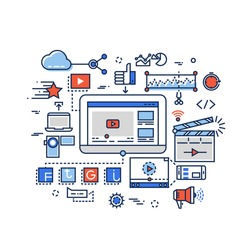 Video production, media digital marketing, clip and film-making, youtuber vector concept with flat line icons. Media video, digital video development, production video illustration