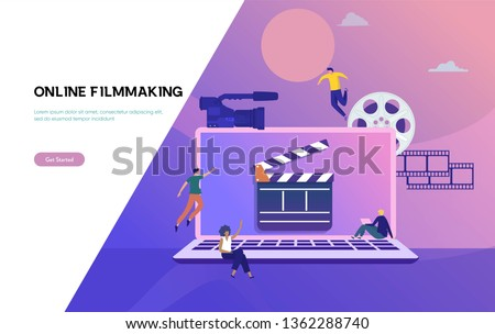 video production vector illustration concept, women and men learning filmmaking , vlogger make content can use for, landing page, template, ui, web, app, poster, banner, flyer, background, homepage