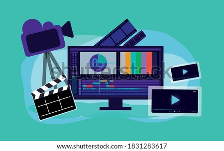 video production vector illustration, film editing monitor, clap board, film strip, camera, video player interface