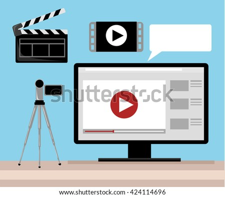 Video production Video Editor Desk Workplace Web Banner Flat Vector Illustration. Flat design.