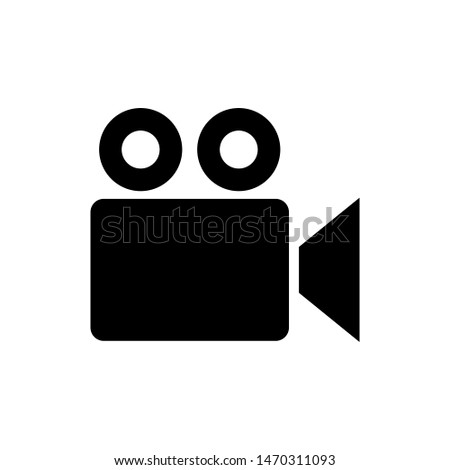 Video recorder icon in flat style isolated