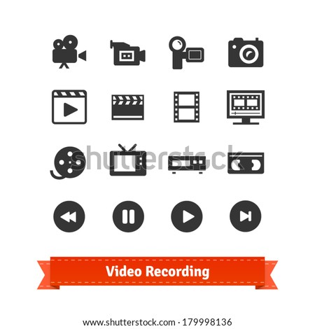 Video recording icon set on modern and retro media.