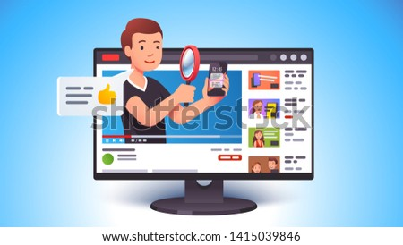 Video review concept. Blogger person doing modern smart phone review looking at it with magnifying glass. Tech reviewer and vlogger man video channel. Flat vector character illustration