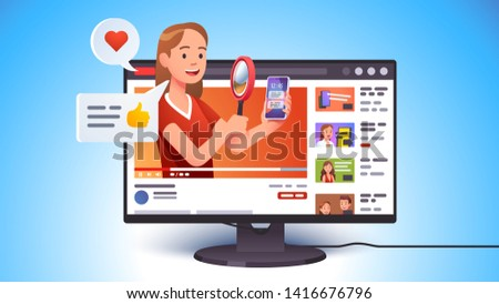 Video review concept. Blogger person doing modern smart phone review looking at it with magnifying glass. Tech reviewer woman and vlogger video channel. Flat vector character illustration