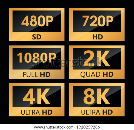 Video size resolution icon label sd, hd, Ultra Hd, 4k, 8k vector sign illustration
