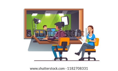 Video & sound engineers working on mixing console. Television presenter in green screen studio with lighting equipment behind glass window. TV broadcasting & video production. Flat vector illustration