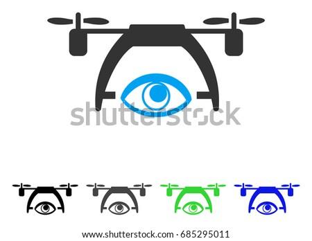 Video Spy Drone Flat Vector Icon Colored Gray Black Blue