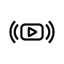 Video stream icon in flat style. Online education topic with video stream symbol on white. Live streaming icon. Media meaning concept. Play or watch video, online player line icon. Vector illustration