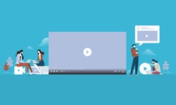Video streaming. Flat design people and technology concept. Vector illustration for web banner, business presentation, advertising material.
