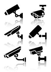 Video surveillance, new big set stickers, vector illustration
