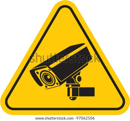 Video surveillance sign. CCTV Camera. Black vector isolated