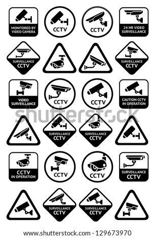 Video surveillance signs - Big black set