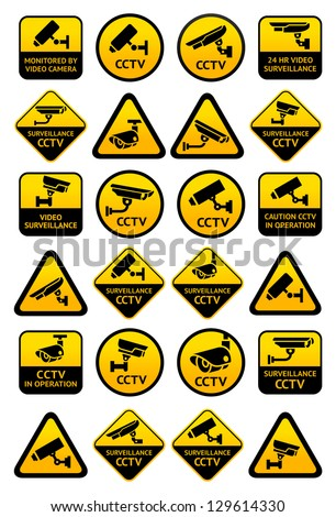 Video surveillance signs Big yellow set vector illustration