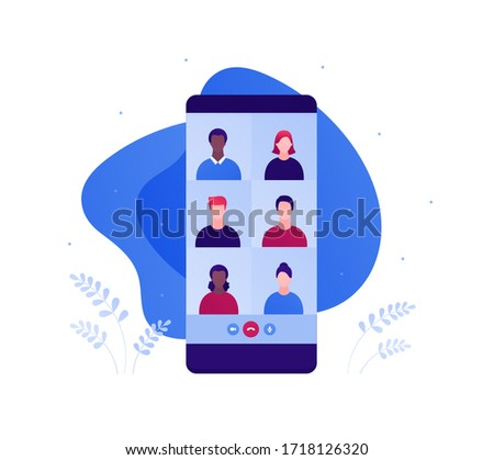 Video teleconference and remote online meeting concept. Vector flat person illustration. Group of multiethnic people avatar on smart phone device screen. Design for banner, web, infographic