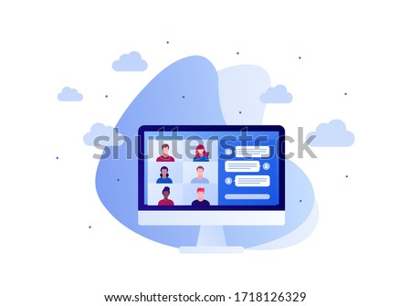 Video teleconference, remote online meeting and chatroom concept. Vector flat person illustration. Group of multiethnic people avatar on computer screen. Design for banner, web, infographic