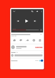 Video template. Youtube video mockup. vector illustration. Streaming video app mockup on screen device.