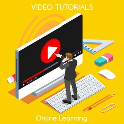 Video tutor man stream training isometric concept. Market monitor study learning education internet online banner. Webinar video conference 3D Flat isometric People Set vector Computer Desktop bet
