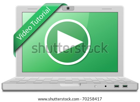 Video Tutorial. Laptop and video service sign. EPS10