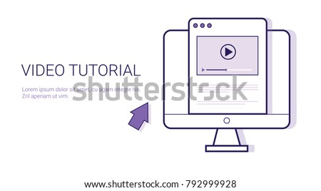 Video Tutorial Online Education Business Concept Template Web Banner With Copy Space Vector Illustration