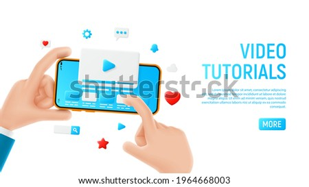 Video tutorials concept template. Mockup with cartoon hands, smartphone and icons. Template of smart phone in cartoon hand isolated on white background. Vector illustration mobile device concept.