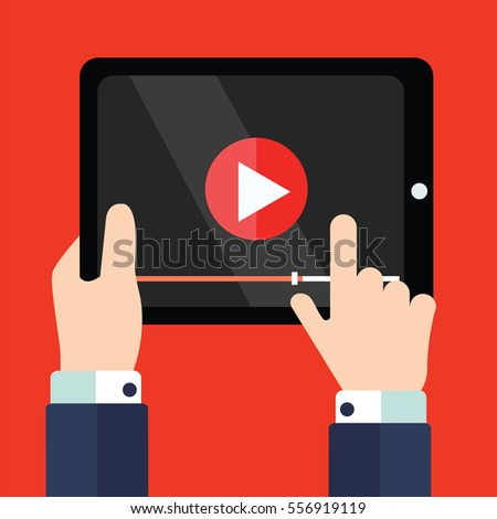 Video tutorials on Tablet icon concept. Study and learning background, distance education and knowledge growth