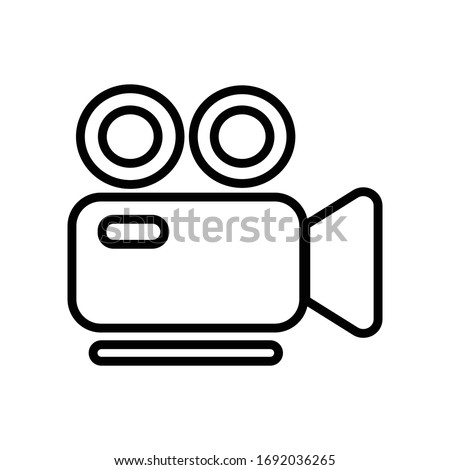 Video with outline icon vector