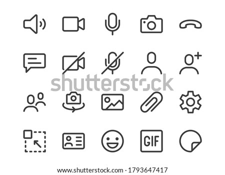 Videocall line icon. Minimal vector illustration, simple outline icons - chat, message, microphone, turn camera, conference and other pictogram for video call interface. Editable Stroke Pixel Perfect