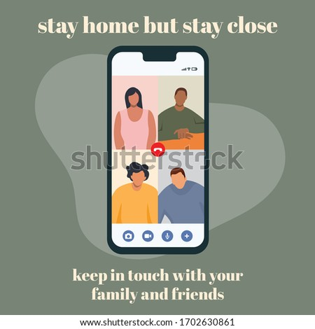 Videochat with friends during corona virus. Covid19. Stay home Stay Safe. Keep in touch. Communication, connection, relationship, friends, family.