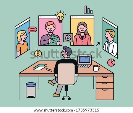 Videoconferencing business partners. flat design style minimal vector illustration.