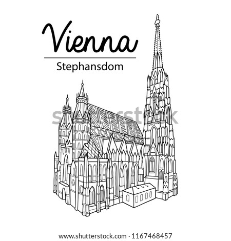 Vienna sightseeing illustration. Outline drawing, coloring book page. Stephansdom. St. Stephen's Cathedral. Stock photo ©