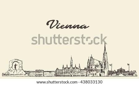 Vienna skyline, Austria, vintage vector engraved illustration, hand drawn, sketch