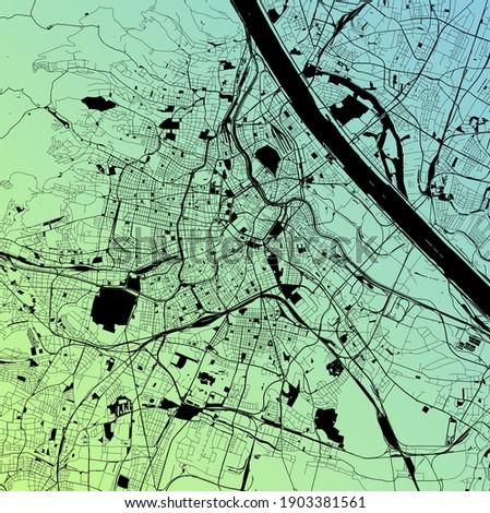 Vienna, Wien, Austria (AUT) - Urban vector city map with parks, rail and roads, highways, minimalist town plan design poster, city center, downtown, transit network, gradient blueprint Stock fotó ©