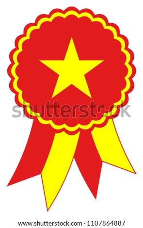 Vietnam Award Ribbon vector in the original national colors yellow  and red. Representing Socialist Republic of Vietnam in Asia.