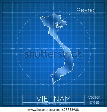 Vietnam blueprint map template with capital city. Vector illustration.